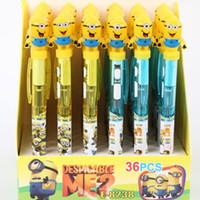 led point - Minions Movies Cartoon Ballpoint Pens Cute Despicable Me Toys Ball Point Pen LED Lights mm Drawing Pens Writing Stationery D5682