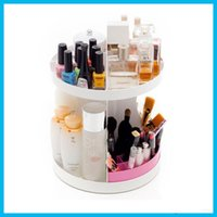 Wholesale Makeup Degree Rotatable Cosmetics Plastic Makeup Storage Two Layer Multifunctional Makeup Cosmetic Organizer DHL