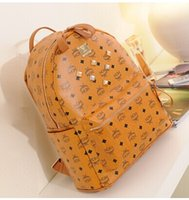 Wholesale 2015 MCM Korea rivets college student bag shoulder bag computer bag backpack PU leather