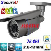 Wholesale 1200TVL color hd ccd zoom wide lens bullet waterproof indoor outdoor use security surveillance cctv video camera IR CUT good night vision