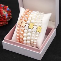 Wholesale High Quality Fashion Pearl Jewelry Handmade Beaded Pearl Bracelets Hot Sale Bracelet Stainless Steel Bear Christmas birthday
