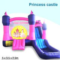 Wholesale children amusement princess jumping castle slide