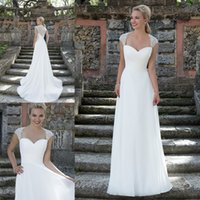 best price champagne - 2016 Vestidos De Noiva Wedding Dress High Quality Best Price Delicated Beaded Illusion Back Cap Sleeve Chiffon Beach Bridal Gown Under