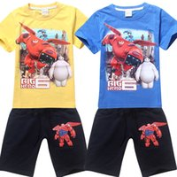 Cheap New Big Hero 6 Boys Summer Clothing Set Fashion Kids Tshirts+Pocket Short Pants Casual Sport Suit Baby Cartoon Children Outfits Tracksuits