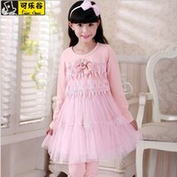 Wholesale 2014 Winter new style kids sweet princess dress rabbit floriation hollow out lace hand embroidery lace children clothes girls dresses GR169