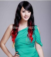 Wholesale 2014 new Synthetic Women s Long Wavy Full Wigs Three color ombre Cosplay Wigs Curly Fake Black Red For Party Cosplay