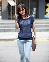 Wholesale 2015 Hot Selling Summer Women Casual Tops Fashion Batwing Sleeved Hollow Out Crochet Blouse Shirts B6