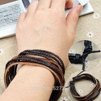 Wholesale Multilayer Wrap Men s Women s Synthetic Leather Braided Rope Adjustable Bracelet Cusual Sport Hot
