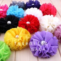 beautiful center - Beautiful Chiffon Shabby Flower For Queen Baby Fluffy Ruffled Pearl Center Flower For Headband quot Colors IN STOCK