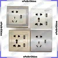 Wholesale 5V A Double USB Charging Socket Switch Panel USB Wall Plate USB HUB For iPhone Samsung MP3 MP4 PSP