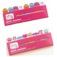 Wholesale 1pc Owl lollipop Sticker Paste Bookmark Point It Marker Memo Flags Sticky Notes