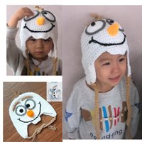 Wholesale Hot sale and new arrival cartoon movie Frozen Lovely OLAF crochet Hat toy the Snowman