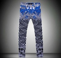 Wholesale fashion men jeans men s casual pants new high quality fashion Retro Three dimensional Cube prints mens denim trousers