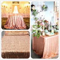 table cloth - Rose Gold Sequin Table Cloth Shimmer Sparkly Overlays Tablecloths for Wedding