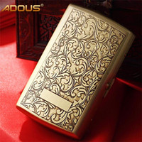Wholesale 12pcs real cigarettes case box holder Retro stype bag brass color for men and women as best gift