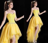 al por mayor vestido de fiesta corsé amarillo-Sexy Hola Lo Prom Prom Vestidos 2015 Color Amarillo Lace Bodice Beaded Cintura Niñas Vestido De Fiesta De Graduación Vestido De Baile Hermoso Homecoming Vestidos 0409