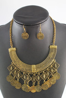 Wholesale Free People Boho Coin Necklace Earring Ethnic Bohemian Festival Jewelry Set
