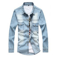 Wholesale New Man Denim Shirts Cowboy Cotton Men Shirt Casual Summer Camisa MCL285