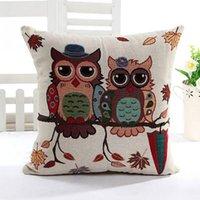 Wholesale New Fashion Cute Owl Pattern Cotton Linen Pillow Case Sofa Throw Cushion Cover Home Decor Square
