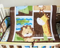 baby nursery boys - 100 cotton Baby Quilt Nursery Comforter Cot Crib bedding for girl and boy animal lion giraffe Designs pattern