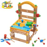 wooden chair - Child wooden toy multifunctional removable wooden toy building blocks work chair