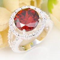Wholesale 5 Pieces Lucky Shine Family Gift Exclusive Round Fire Garnet Crystal Sterling Silver Rings Russia American Australia Wedding Rings