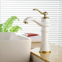 beautiful bathroom vanity - Beautiful Grilled White Paint Countertop Bathroom Vanity Basin Faucets Deck Mounted Hot and Cold Mixer Taps YLS5871 e