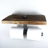 Wholesale Industrial Style Iron Pipe Double Toilet Paper Holder Roller With Wood Shelf