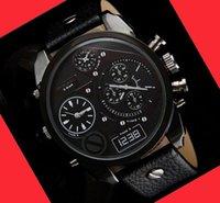 Wholesale NEW luxury watches Men s Clock Quartz Movement Dual Time Zones Big Round Dial Leather Band Strap fashion sports Wristwatch