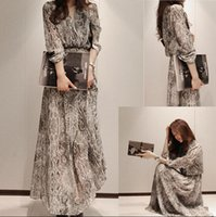 Wholesale Elegant Women Snake Floral Chiffon Party Evening Casual Long Maxi Dress