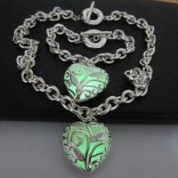 Wholesale 925 copper hollow silver heart necklace white zircon luminous heart shaped pendant OT buckle large chain necklace bracelet LED Jewelry Set