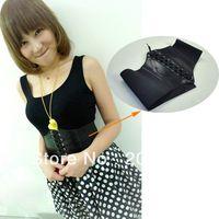 Wholesale New Fashion Women s Beautiful Stretchy Wide Black Faux Leather Corset Waist Belt Black