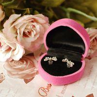 Wholesale 240pcs Wedding Jewelry Ring Box Heart Shape Flocking Earring Box Gift Casket Packing Case HJ001p