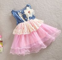 Wholesale baby girl kids lace dress Denim hole dress flower floral tutu dress vintage princess jumper wave ruffle zig zag crochet embroidery rosette