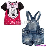 Cheap 2014 Cartoon Girls Minnie Mouse kids Clothes Baby Suits Kids T Shirt + Jeans Overalls Children Clothing Set