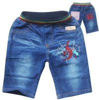 Wholesale Spiderman Summer Jeans Shorts For Boys Kids Marvel Movies Embroider Pants Children Trousers