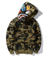 Wholesale Winter Men Coat Camouflage Shark Hoodie Sweatshirt military Army green camo hip hop Fleece Hooded jacket sudadera