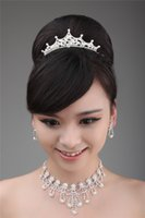 Wholesale 2014 Silver Beaded Pearls Bridal Hair Crown Earrings Necklace Set Bridal Accessories Hair Tiaras Decorations Sparkle Fashion Crown