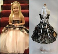 Wholesale 2016 New Arrival Camo Girls Pageant Dresses Halter Ball Gown Dresses For Toddler Flower Girls Gowns Mother Daughter Matching Dresses BA1504