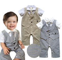 neck cotton collar - Baby one piece romper gentleman style tie toddler infant clothes short sleeve turn down collar baby boys jumpsuit BB