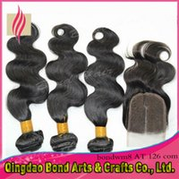 Wholesale Human hair weave with closure Peruvian Virgin Hair weft PC Top Closures Lace Closure With Bundles body wave Hair Extensions