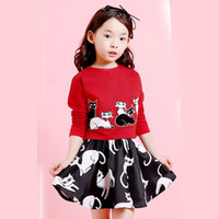 american kittens - Girls Clothing Set For Autumn New The Kitten Two piece Suit Pure Cotton Children skirt Set Size Age Kids G42