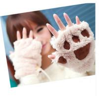 Wholesale EAST KNITTING C10 Hot Style Winter Warm Women Fingerless Gloves Fluffy Bear Cat Plush Paw Fur Gloves