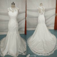 Wholesale Real Sample Elegant Romantic Lace Applique Beaded Custom made Sheer Tulle Back Mermaid Wedding Dresses S1002