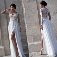Wholesale New Sexy Lace Sheer Summer Beach A Line Wedding Dresses Chiffon Illusion Long Sleeves Zip Full Length Evening Gowns Split Prom Dress