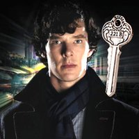 apartment lot - Freeshipping movie Sherlock b apartment key necklace Retro key necklace