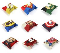 Wholesale 2016 New Style Super Hero Superman Flash man Batman Captain America Custom Tissue Boxes Linen Cotton X24cm Paper Holder Business