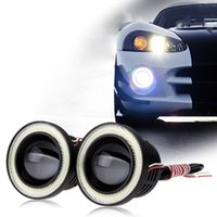 Wholesale 2x High Power quot Projector For Car LED Fog Light W COB Halo Angel Eyes Rings east