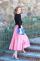 Wholesale Skirts Formal Dance - Women S Formal Floral Tea Length Long Ruched satin Tutu Skirts pink Free Size Personalized Cheap Formal Occasion Dance Maxi Skirt