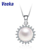Wholesale Veeka bridal necklace silver chain freshwater pearl chain necklace for women